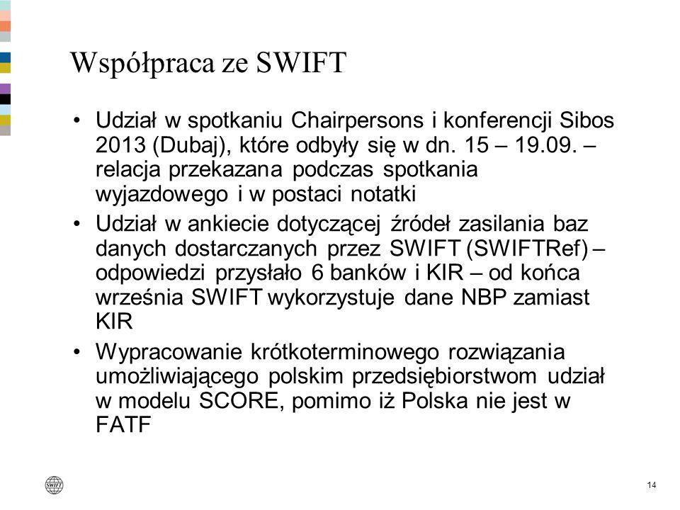 14 Współpraca ze SWIFT Udział w spotkaniu Chairpersons i konferencji Sibos 2013 (Dubaj), które odbyły się w dn. 15 – 19.09. – relacja przekazana podcz
