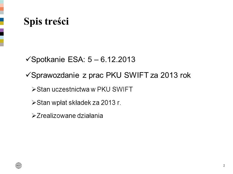 2 Spis treści Spotkanie ESA: 5 – 6.12.2013 Sprawozdanie z prac PKU SWIFT za 2013 rok Stan uczestnictwa w PKU SWIFT Stan wpłat składek za 2013 r. Zreal