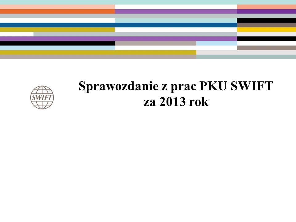 7 Polski Komitet Użytkowników SWIFT (PKU SWIFT) Powołany 27 kwietnia 2001 uchwałą Zarządu ZBP Działa w ramach struktury organizacyjnej ZBP Cele działania: –zapewnienie przepływu informacji między organizacją SWIFT i jej użytkownikami w Polsce –wsparcie w sprawach organizacyjnych i technicznych związanych z uczestnictwem w SWIFT i utrzymaniem infrastruktury dostępowej –reprezentowania interesów polskiej społeczności użytkowników SWIFT na forum międzynarodowym (współpraca w ramach ESA)