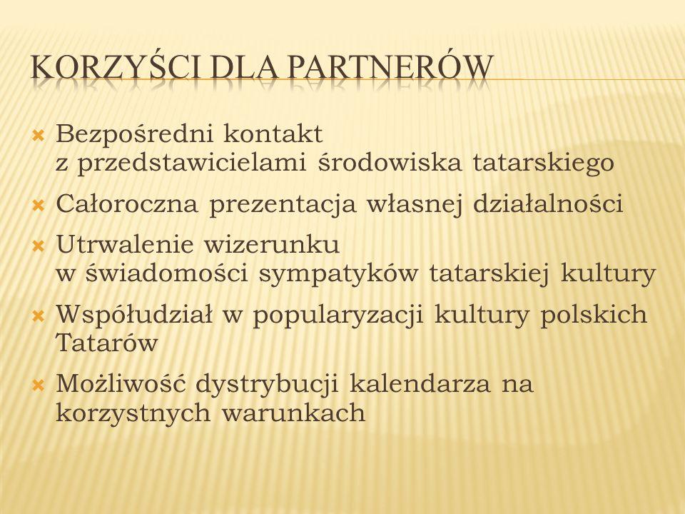 Bezpośredni kontakt z przedstawicielami środowiska tatarskiego Całoroczna prezentacja własnej działalności Utrwalenie wizerunku w świadomości sympatyk