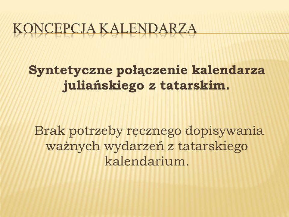 Syntetyczne połączenie kalendarza juliańskiego z tatarskim. Brak potrzeby ręcznego dopisywania ważnych wydarzeń z tatarskiego kalendarium.