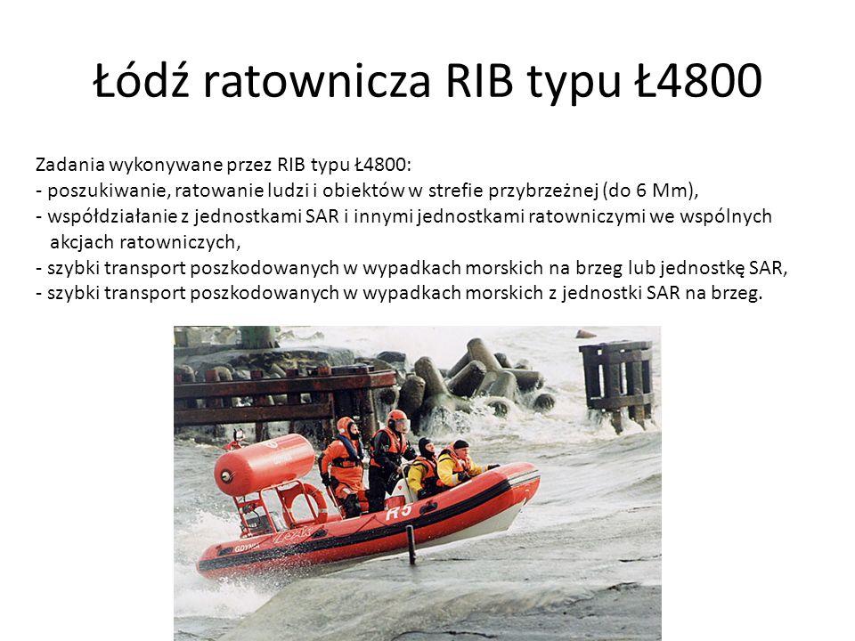 Łódź ratownicza RIB typu Ł4800 Zadania wykonywane przez RIB typu Ł4800: - poszukiwanie, ratowanie ludzi i obiektów w strefie przybrzeżnej (do 6 Mm), -
