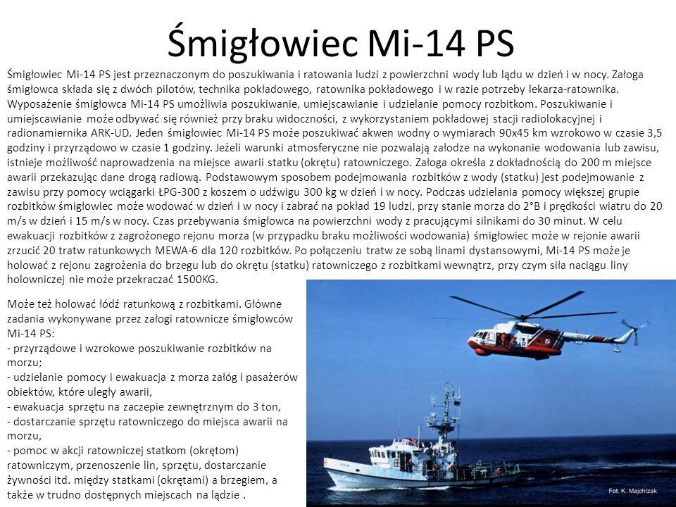 Śmigłowiec Mi-14 PS Śmigłowiec Mi-14 PS jest przeznaczonym do poszukiwania i ratowania ludzi z powierzchni wody lub lądu w dzień i w nocy. Załoga śmig