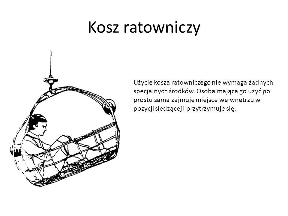 Siatka ratownicza Siatka ratownicza ma kształt klatki o kształcie stożkowym, otwartej z jednej strony.
