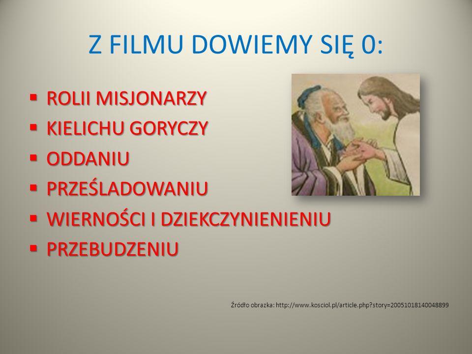 Z FILMU DOWIEMY SIĘ 0: ROLII MISJONARZY ROLII MISJONARZY KIELICHU GORYCZY KIELICHU GORYCZY ODDANIU ODDANIU PRZEŚLADOWANIU PRZEŚLADOWANIU WIERNOŚCI I D