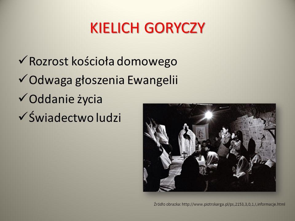 KIELICH GORYCZY Rozrost kościoła domowego Odwaga głoszenia Ewangelii Oddanie życia Świadectwo ludzi Źródło obrazka: http://www.piotrskarga.pl/ps,2153,