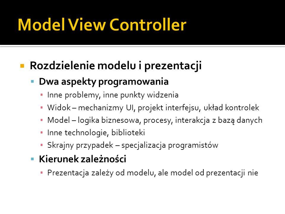Rozdzielenie modelu i prezentacji Dwa aspekty programowania Inne problemy, inne punkty widzenia Widok – mechanizmy UI, projekt interfejsu, układ kontr