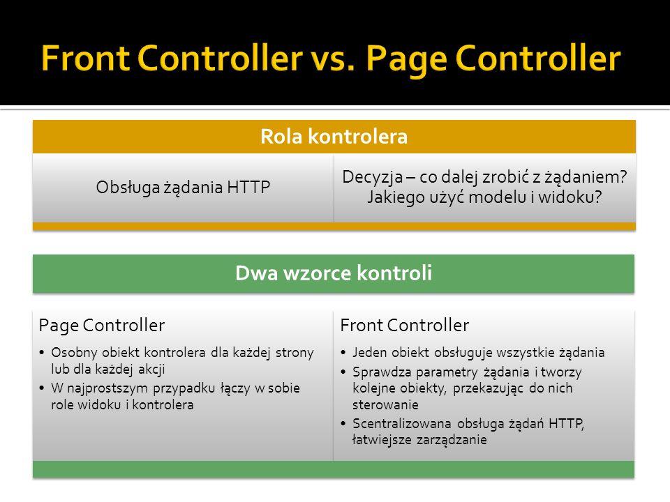 Rola kontrolera Obsługa żądania HTTP Decyzja – co dalej zrobić z żądaniem? Jakiego użyć modelu i widoku? Dwa wzorce kontroli Page Controller Osobny ob