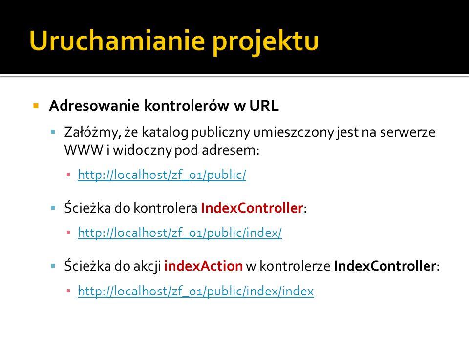 Adresowanie kontrolerów w URL Załóżmy, że katalog publiczny umieszczony jest na serwerze WWW i widoczny pod adresem: http://localhost/zf_01/public/ Śc