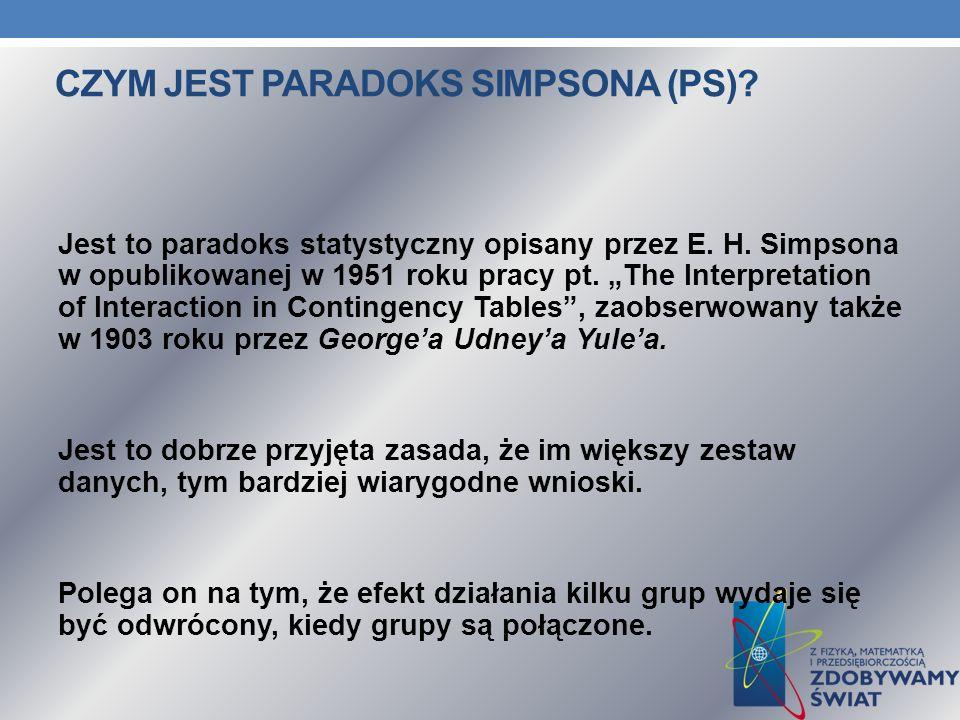 CZYM JEST PARADOKS SIMPSONA (PS). Jest to paradoks statystyczny opisany przez E.