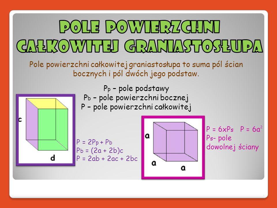 Pole powierzchni całkowitej graniastosłupa to suma pól ścian bocznych i pól dwóch jego podstaw. P p – pole podstawy P b – pole powierzchni bocznej P –