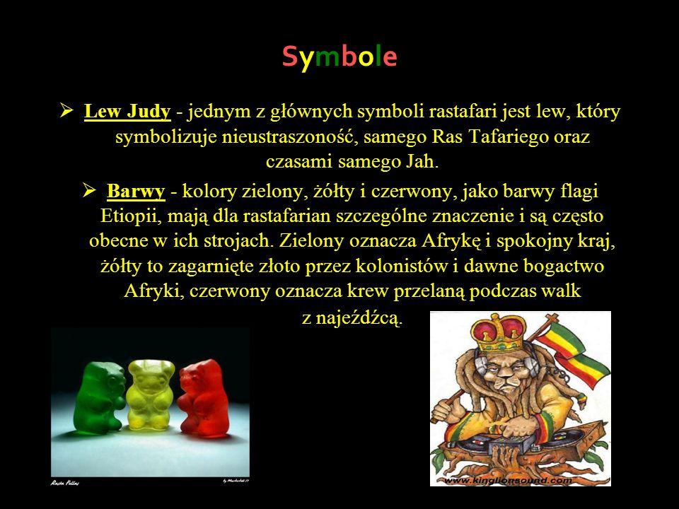 Symbole Lew Judy - jednym z głównych symboli rastafari jest lew, który symbolizuje nieustraszoność, samego Ras Tafariego oraz czasami samego Jah. Barw