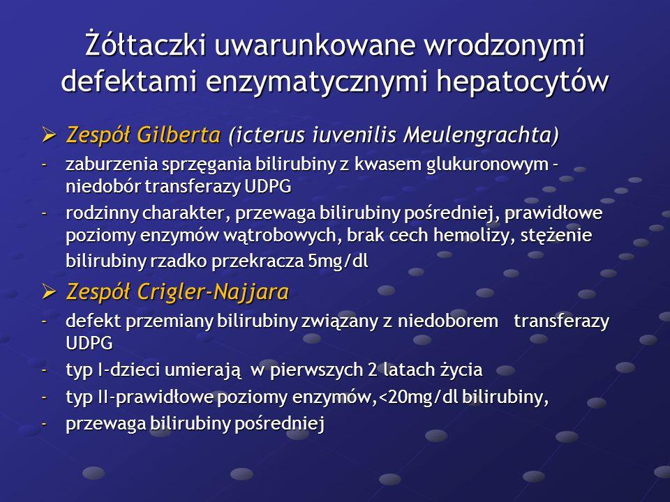 Żółtaczki uwarunkowane wrodzonymi defektami enzymatycznymi hepatocytów Zespół Gilberta (icterus iuvenilis Meulengrachta) Zespół Gilberta (icterus iuve