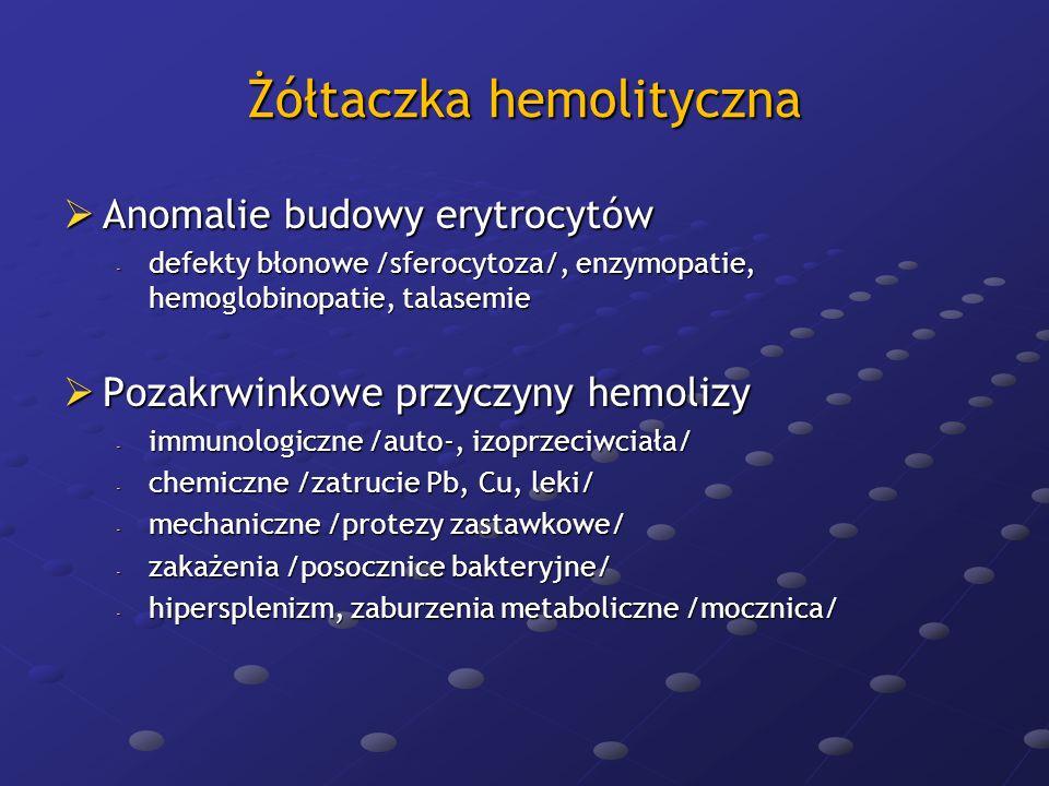 Zespół Dubina-Johnsona Zespół Dubina-Johnsona -zaburzenie wydzielania związanej bilirubiny na biegunie żółciowym hepatocytów -charakter rodzinny, przewaga bilirubiny bezpośredniej, bilinubinuria, obecność w hepatocytach barwnika melaninopodobnego, bez dolegliwości subiektywnych bilinubinuria, obecność w hepatocytach barwnika melaninopodobnego, bez dolegliwości subiektywnych Zespół Rotora Zespół Rotora -odmiana zespołu Dubina-Johnsona, nieobecność złogów barwnika w hepatocytach Żółtaczka fizjologiczna noworodków Żółtaczka fizjologiczna noworodków -niedojrzałość enzymatyczna ergastoplazmy hepatocytów -niedobór transferazy UDPG