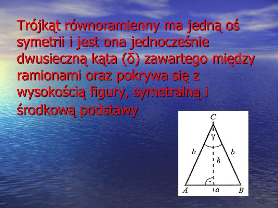 Trójkąt równoramienny ma jedną oś symetrii i jest ona jednocześnie dwusieczną kąta (δ) zawartego między ramionami oraz pokrywa się z wysokością figury