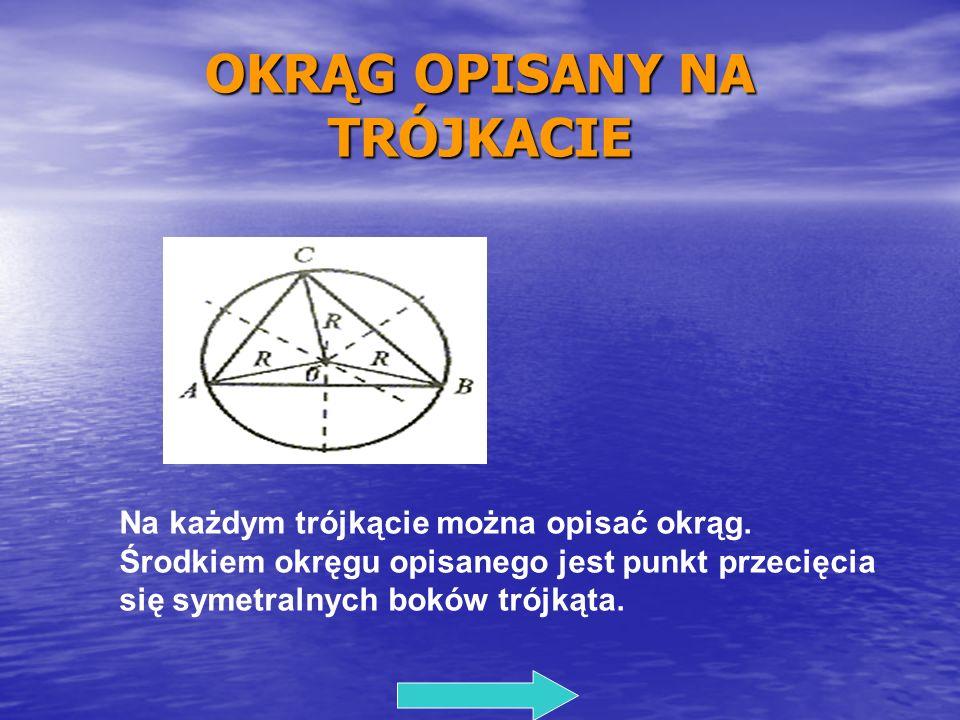 OKRĄG OPISANY NA TRÓJKACIE Na każdym trójkącie można opisać okrąg. Środkiem okręgu opisanego jest punkt przecięcia się symetralnych boków trójkąta.