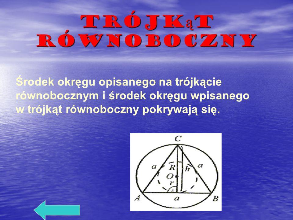 Trójk ą t równoboczny Środek okręgu opisanego na trójkącie równobocznym i środek okręgu wpisanego w trójkąt równoboczny pokrywają się.