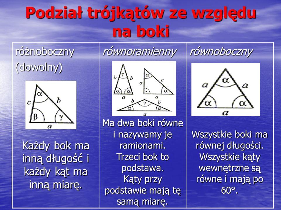 różnoboczny (dowolny) Każdy bok ma inną długość i każdy kąt ma inną miarę. równoramienny Ma dwa boki równe i nazywamy je ramionami. Trzeci bok to pods