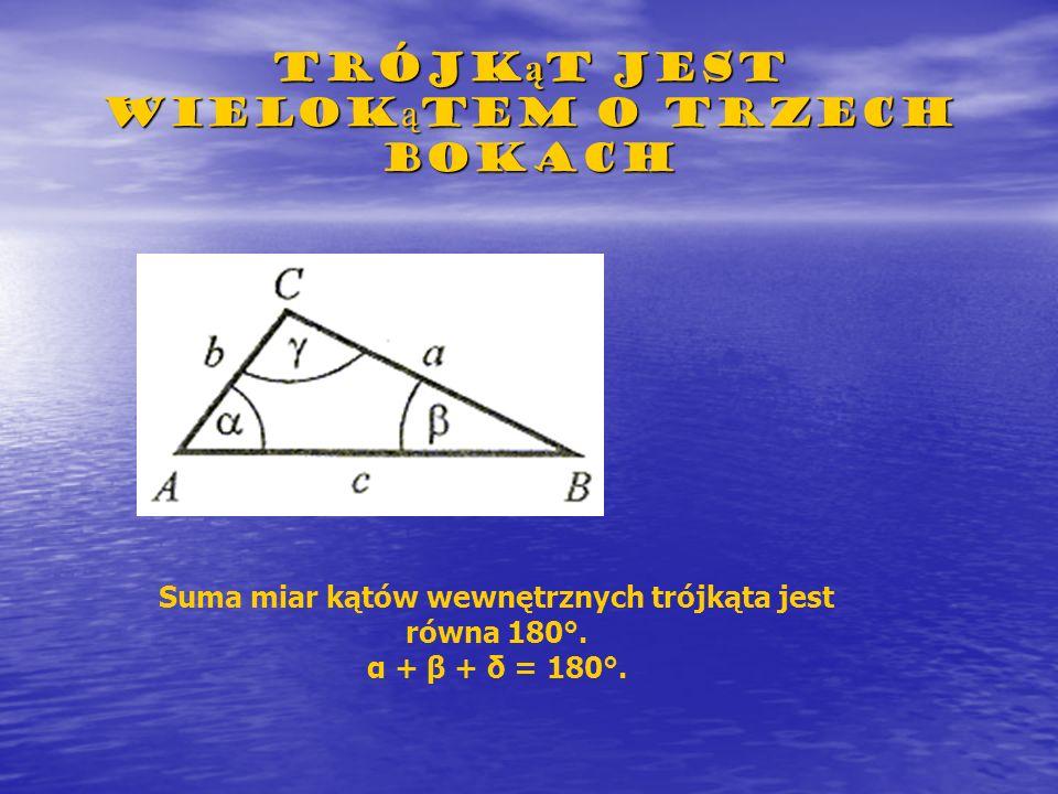Trójk ą t jest wielok ą tem o trzech bokach Suma miar kątów wewnętrznych trójkąta jest równa 180°. α + β + δ = 180°.