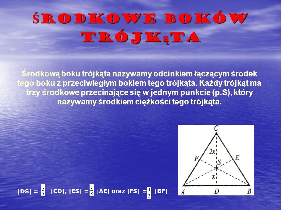 Ś rodkowe boków trójk ą ta Środkową boku trójkąta nazywamy odcinkiem łączącym środek tego boku z przeciwległym bokiem tego trójkąta. Każdy trójkąt ma