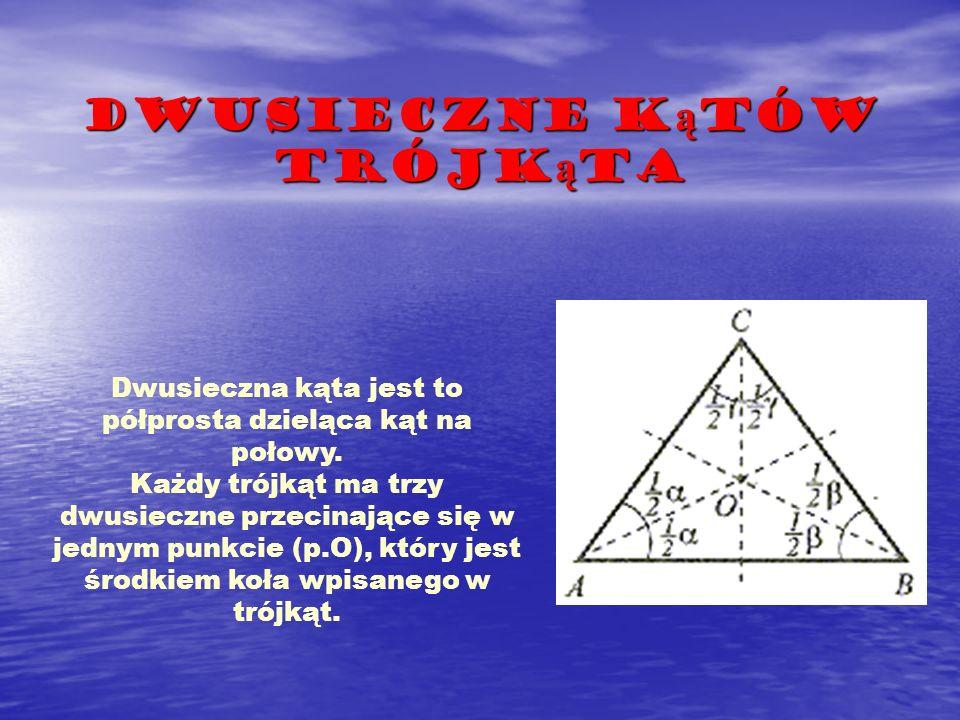 Dwusieczne k ą tów trójk ą ta Dwusieczna kąta jest to półprosta dzieląca kąt na połowy. Każdy trójkąt ma trzy dwusieczne przecinające się w jednym pun