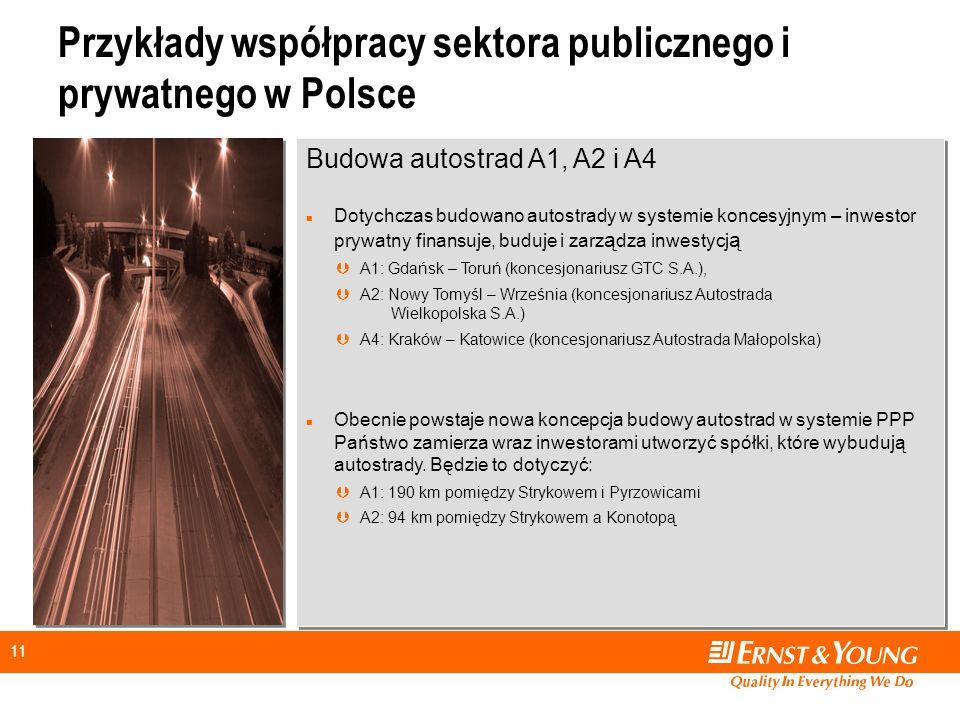 11 Przykłady współpracy sektora publicznego i prywatnego w Polsce Budowa autostrad A1, A2 i A4 n Dotychczas budowano autostrady w systemie koncesyjnym – inwestor prywatny finansuje, buduje i zarz ą dza inwestycj ą ÞA1: Gdańsk – Toruń (koncesjonariusz GTC S.A.), ÞA2: Nowy Tomyśl – Września (koncesjonariusz Autostrada Wielkopolska S.A.) Þ A4: Kraków – Katowice (koncesjonariusz Autostrada Małopolska) n Obecnie powstaje nowa koncepcja budowy autostrad w systemie PPP Państwo zamierza wraz inwestorami utworzyć spółki, które wybudują autostrady.