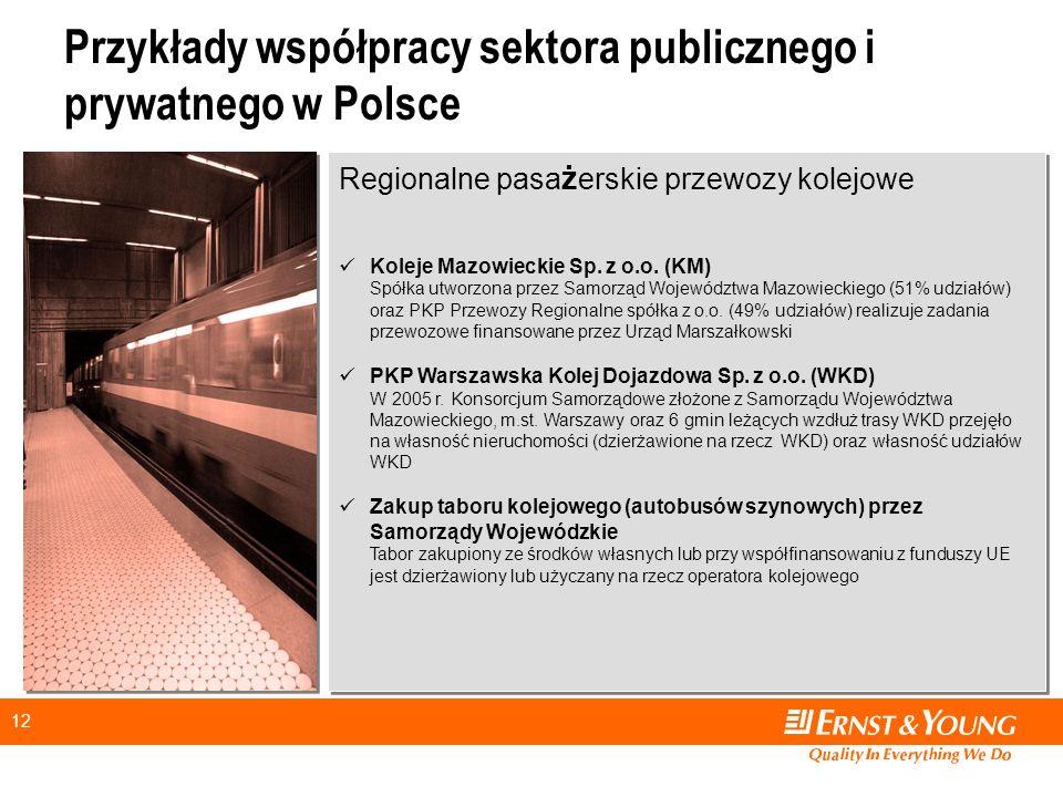 12 Przykłady współpracy sektora publicznego i prywatnego w Polsce Regionalne pasa ż erskie przewozy kolejowe Koleje Mazowieckie Sp.