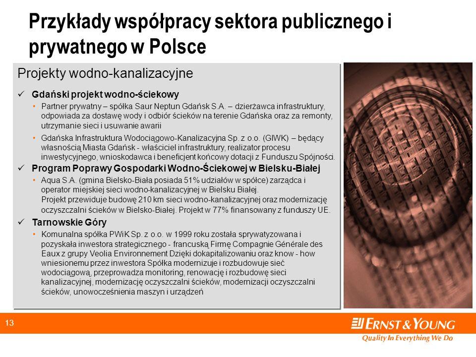 13 Przykłady współpracy sektora publicznego i prywatnego w Polsce Projekty wodno-kanalizacyjne Gdański projekt wodno-ściekowy Partner prywatny – spółka Saur Neptun Gdańsk S.A.