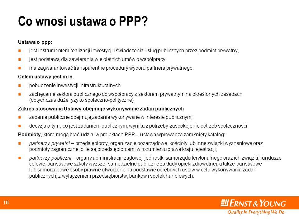 16 Co wnosi ustawa o PPP.