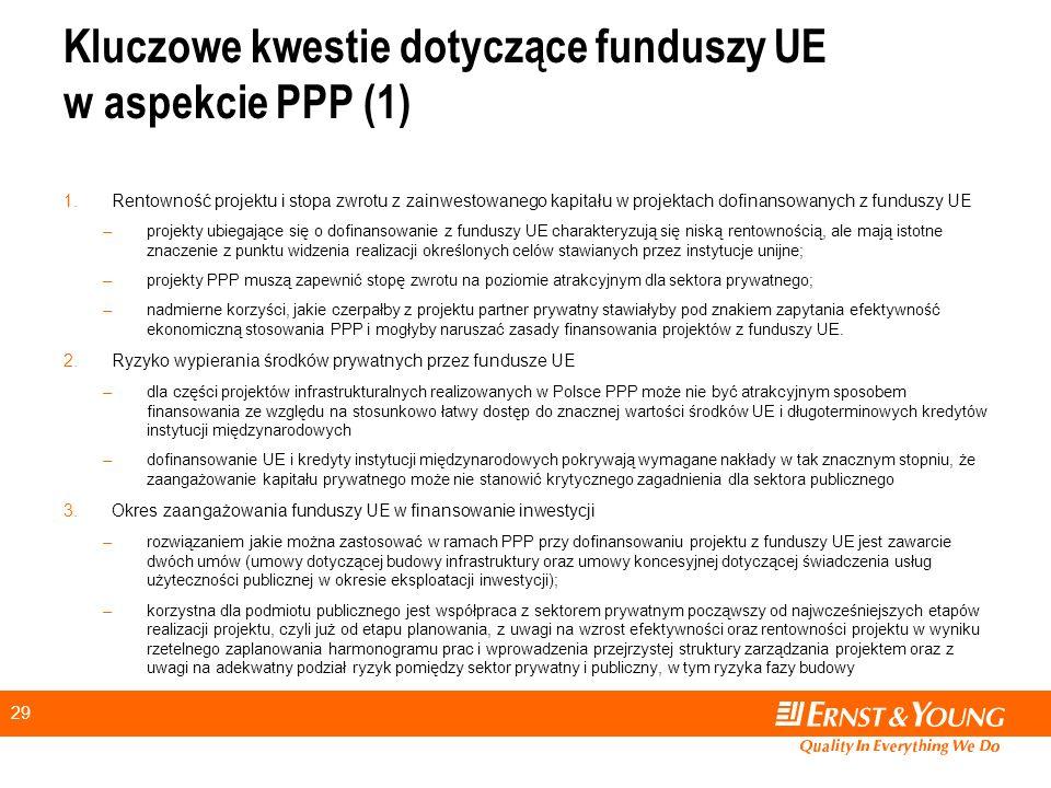 29 Kluczowe kwestie dotyczące funduszy UE w aspekcie PPP (1) 1.Rentowność projektu i stopa zwrotu z zainwestowanego kapitału w projektach dofinansowanych z funduszy UE –projekty ubiegające się o dofinansowanie z funduszy UE charakteryzują się niską rentownością, ale mają istotne znaczenie z punktu widzenia realizacji określonych celów stawianych przez instytucje unijne; –projekty PPP muszą zapewnić stopę zwrotu na poziomie atrakcyjnym dla sektora prywatnego; –nadmierne korzyści, jakie czerpałby z projektu partner prywatny stawiałyby pod znakiem zapytania efektywność ekonomiczną stosowania PPP i mogłyby naruszać zasady finansowania projektów z funduszy UE.