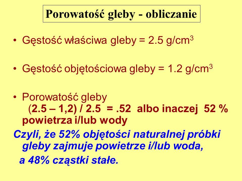 Porowatość gleby - obliczanie Gęstość właściwa gleby = 2.5 g/cm 3 Gęstość objętościowa gleby = 1.2 g/cm 3 Porowatość gleby (2.5 – 1,2) / 2.5 =.52 albo