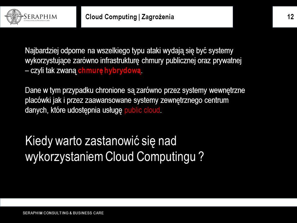 SERAPHIM CONSULTING & BUSINESS CARE 12 Najbardziej odporne na wszelkiego typu ataki wydają się być systemy wykorzystujące zarówno infrastrukturę chmur
