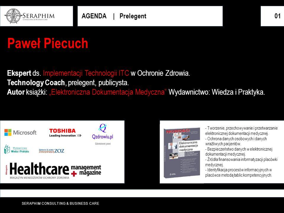 SERAPHIM CONSULTING & BUSINESS CARE AGENDA   Prelegent01 Paweł Piecuch Ekspert ds. Implementacji Technologii ITC w Ochronie Zdrowia. Technology Coach,