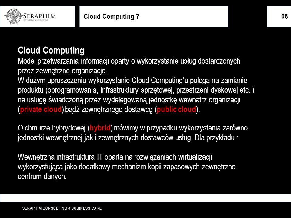 SERAPHIM CONSULTING & BUSINESS CARE Cloud Computing ?08 Cloud Computing Model przetwarzania informacji oparty o wykorzystanie usług dostarczonych prze