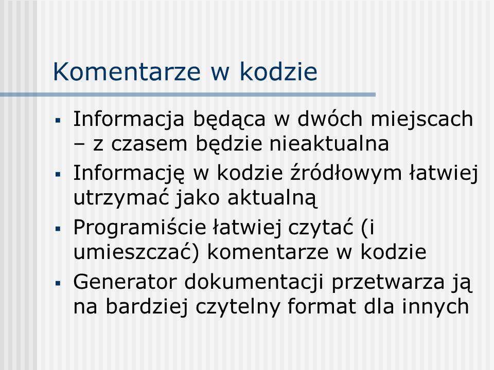 Komentarze w kodzie Informacja będąca w dwóch miejscach – z czasem będzie nieaktualna Informację w kodzie źródłowym łatwiej utrzymać jako aktualną Pro