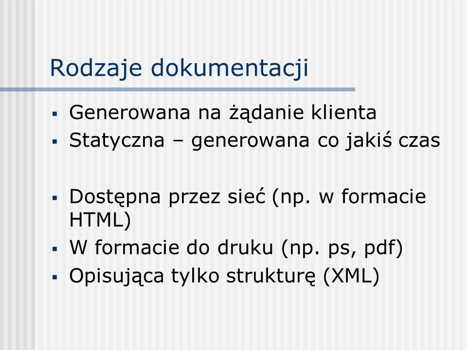 Rodzaje dokumentacji Generowana na żądanie klienta Statyczna – generowana co jakiś czas Dostępna przez sieć (np. w formacie HTML) W formacie do druku