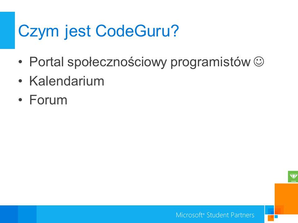 Czym jest CodeGuru? Portal społecznościowy programistów Kalendarium Forum