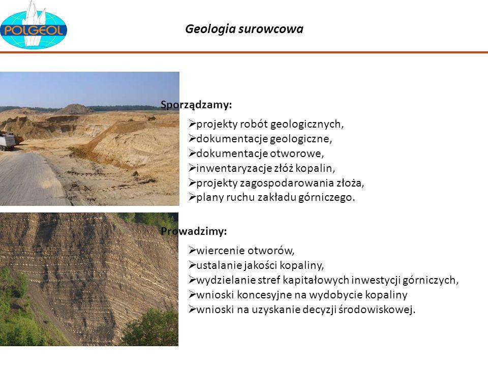 Geologia surowcowa projekty robót geologicznych, dokumentacje geologiczne, dokumentacje otworowe, inwentaryzacje złóż kopalin, projekty zagospodarowan
