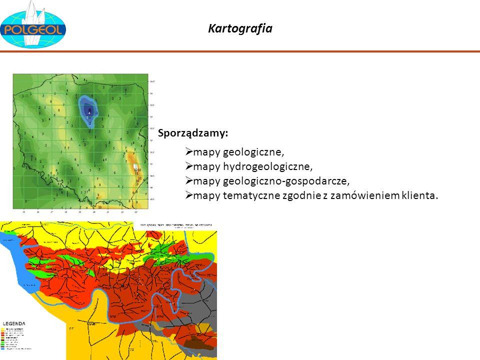 Kartografia mapy geologiczne, mapy hydrogeologiczne, mapy geologiczno-gospodarcze, mapy tematyczne zgodnie z zamówieniem klienta. Sporządzamy: