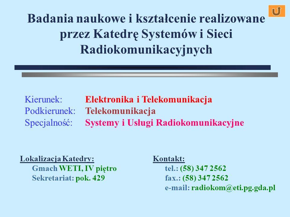 Badania naukowe i kształcenie realizowane przez Katedrę Systemów i Sieci Radiokomunikacyjnych Kierunek:Elektronika i Telekomunikacja Podkierunek:Telek