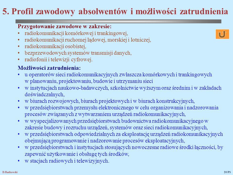 D.Rutkowski20/PS Przygotowanie zawodowe w zakresie: radiokomunikacji komórkowej i trankingowej, radiokomunikacji ruchomej lądowej, morskiej i lotnicze