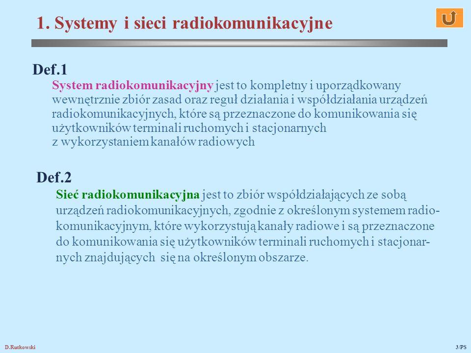 D.Rutkowski3/PS Def.1 System radiokomunikacyjny jest to kompletny i uporządkowany wewnętrznie zbiór zasad oraz reguł działania i współdziałania urządz