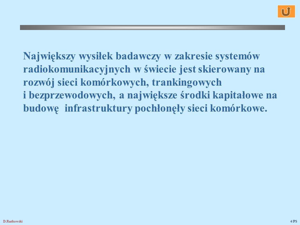 D.Rutkowski4/PS Największy wysiłek badawczy w zakresie systemów radiokomunikacyjnych w świecie jest skierowany na rozwój sieci komórkowych, trankingow