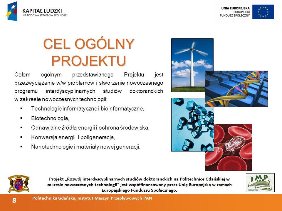8 CEL OGÓLNY PROJEKTU Celem ogólnym przedstawianego Projektu jest przezwyciężenie w/w problemów i stworzenie nowoczesnego programu interdyscyplinarnych studiów doktoranckich w zakresie nowoczesnych technologii: Technologie informatyczne i bioinformatyczne, Biotechnologia, Odnawialne źródła energii i ochrona środowiska, Konwersja energii i poligeneracja, Nanotechnologie i materiały nowej generacji.