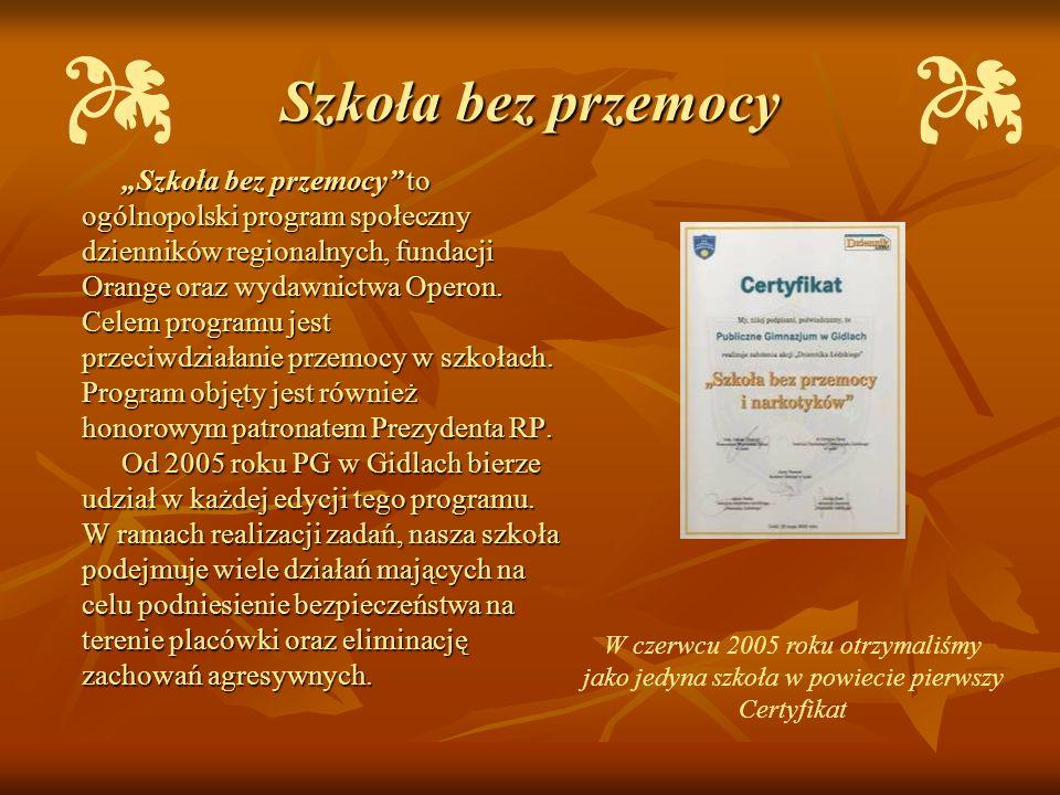 Szkoła bez przemocy Szkoła bez przemocy to ogólnopolski program społeczny dzienników regionalnych, fundacji Orange oraz wydawnictwa Operon. Celem prog