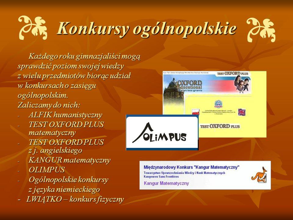 Konkursy ogólnopolskie Każdego roku gimnazjaliści mogą sprawdzić poziom swojej wiedzy z wielu przedmiotów biorąc udział w konkursach o zasięgu ogólnop