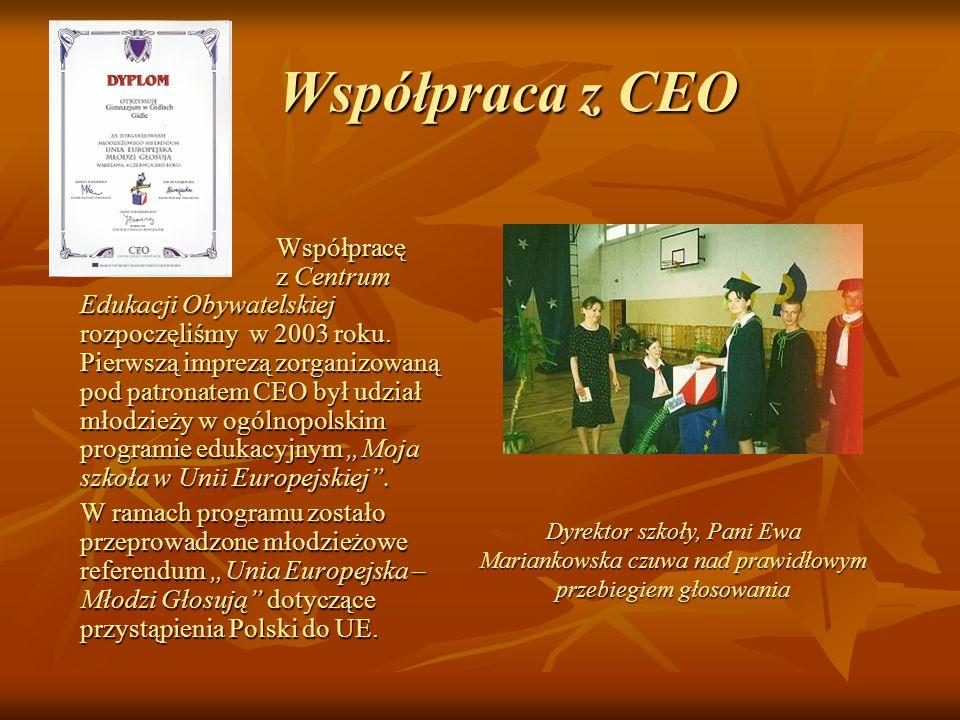 Współpraca z CEO Współpraca z CEO Współpracę z Centrum Edukacji Obywatelskiej rozpoczęliśmy w 2003 roku. Pierwszą imprezą zorganizowaną pod patronatem