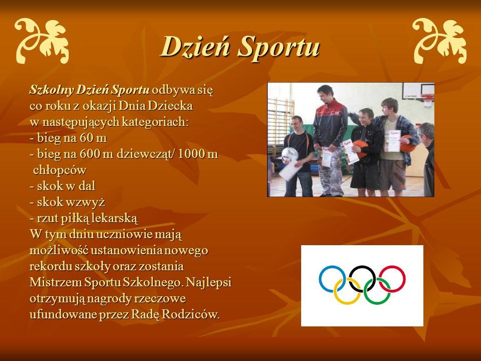 Dzień Sportu Szkolny Dzień Sportu odbywa się co roku z okazji Dnia Dziecka w następujących kategoriach: - bieg na 60 m - bieg na 600 m dziewcząt/ 1000