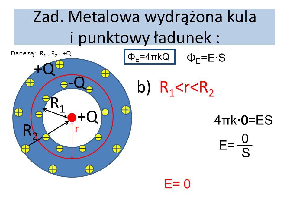 Zad. Metalowa wydrążona kula i punktowy ładunek : Dane są: R 1, R 2, +Q +Q R1R1 R2R2 -Q +Q r b) R 1 <r<R 2 Φ E =4πkQ Φ E =E·S E= 0 4πk·0=ES0 E= S 0