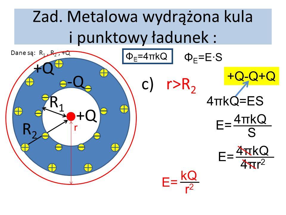 Zad. Metalowa wydrążona kula i punktowy ładunek : Dane są: R 1, R 2, +Q +Q R1R1 R2R2 -Q +Q r c) r>R 2 Φ E =4πkQ Φ E =E·S E= 4πkQ S E= 4πkQ 4πr24πr2 E=